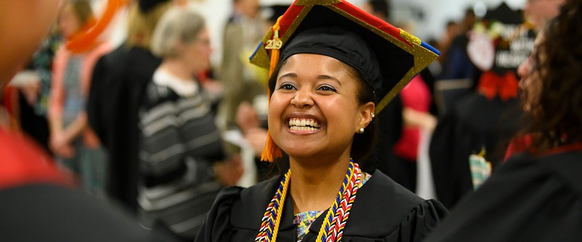 Conway Scholar Alexis Burton, BSN, celebrates her School of Nursing graduation in May 2019.